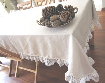 63 x 130 Ruffled linen tablecloth -Lace fashion-solid beige cream Holidays entertaining XL large FRENCH country home