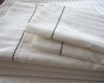 Hotel style White bed sheet sets Twin XL Queen King- deep pocket fitted - flat loose sheet pillowcases-cotton jacquard stripe luxury bedding