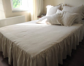 Cal King linen ruffle bedspread, skirted coverlet 22 32 drop bed spread Turkish Oatmeal linen Odemis fabric-French country farmhouse style