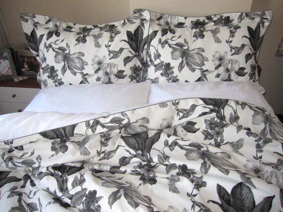 Nurdanceyiz queen bedding sets - Grey gray black white ivory bird print floral duvet cover with pillow cases and shams, flat bed sheets