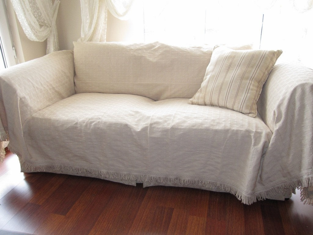 Large sofa throw covers rectangle tassel ivory couch for Furniture covers