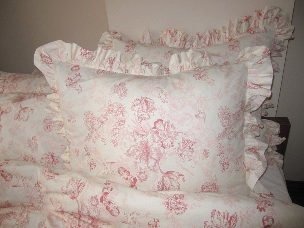 Pink Floral Ruffle Euro Shams Pillow Sham 26 Inch Bedding Set