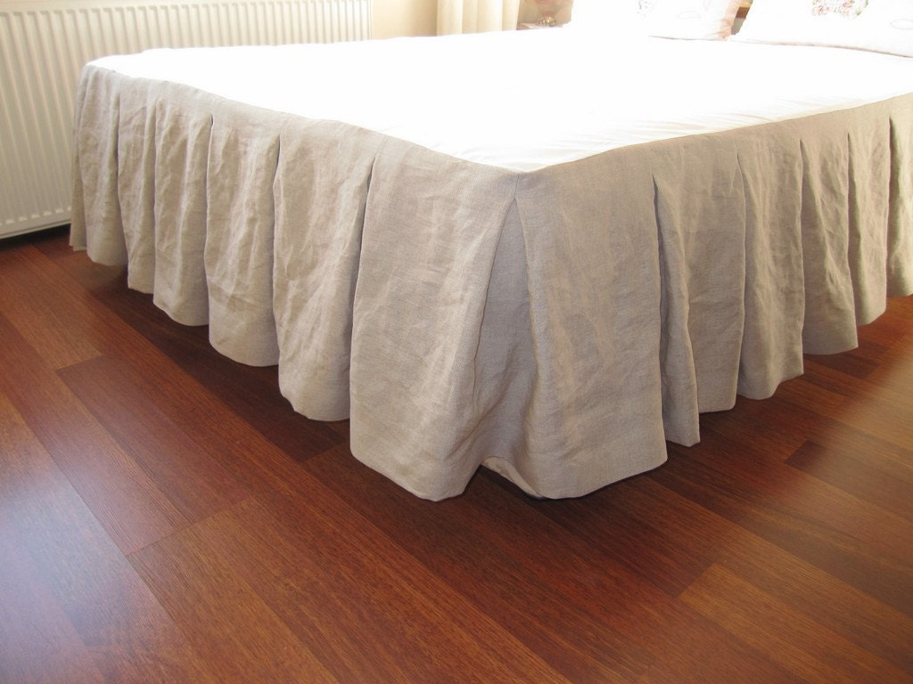 Sale cal king size bed skirt oatmeal beige linen box pleated for Cal king bed size