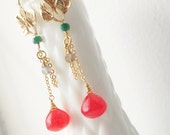 Gold Leaf Chain Ruby Quartz Emerald Stone Earrings, Free Shipping, ER11711