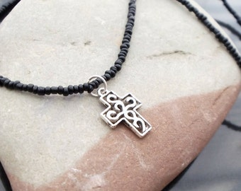 Cross charm necklace, minimalist cross necklace, easter jewelry, mothers day gift, gift for mom, black and silver, wedding jewelry, black