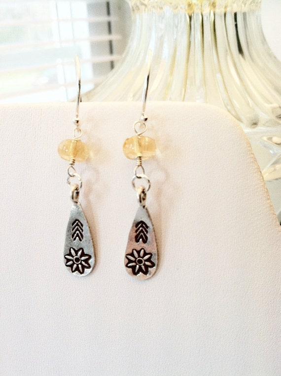 Hill Tribe Silver Flower Stamped Citrine Earrings, Free Shipping, ER11704, LymeAid for Melissa