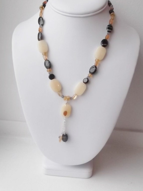 Pineapple Jade Onyx Citrine Garnet Necklace, Free Shipping, free gift wrap