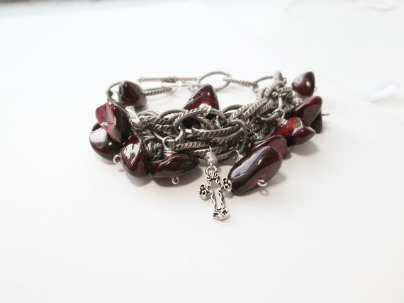 SOA Fierce Mother Gunmetal Chain Cross Charm Red Ceramic Stone Bracelet, Free Shipping, LymeAid for Melissa