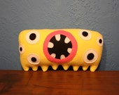 MINI PLUSH MONSTER Eleanor in Yellow and Pink with Six Eyes
