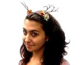 Antlers -  Headband - Dark Chocolate Leather With Flowers and Tiny Antler Headdress, Deer. Tribal. Bohemian. Jackalope Antlers