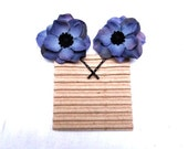 Bobby Pin Flowers - Topaz Blue Hair Flower Bobby Pin Set. Gift Under 10. Wholesale Accessories