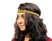 Gold Silk Headband - Vintage Bohemian Black and Gold Crocheted Headwrap