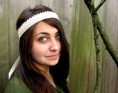 Boho Wedding Headband- Vintage Hand Crocheted Cream Headwrap. Boho Chic, Wedding Crown, Ivory