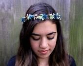 Turquoise Flower Girl Crown - Deep Ocean Teal Blossoms Flower Hair Wreath, Halo. Weddings, Bridal, Bohemian Headband, Hippie.