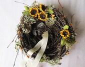 Ring Pillow Nest - Golden Yellow Sunflower, Moss, Feathers and Mustard Berry Nest. Sunflower Wedding, Wildflowers, Farmhouse