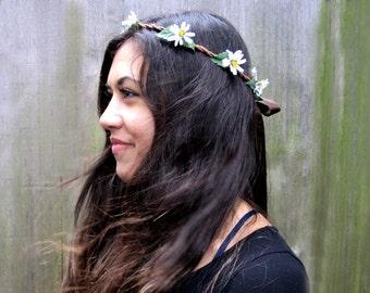 Daisy Crown - Daisy Headband, White Daisy Chain Flower Hair Wreath, Bohemian, Hippie Headband, Flower Child, Bridal Headband, D03