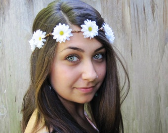 Daisy Headband - Hippie Headband, Hippie Costume, Daisy Crown, Daisy Flower Crown, Flower Crown, Hippie, Boho, Daisy Chain, Circlet, Costume