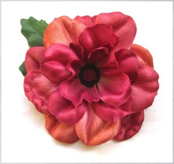 Flower Hair Clip - Large Coral Pink Peony Hair Flower - Summer Fashion