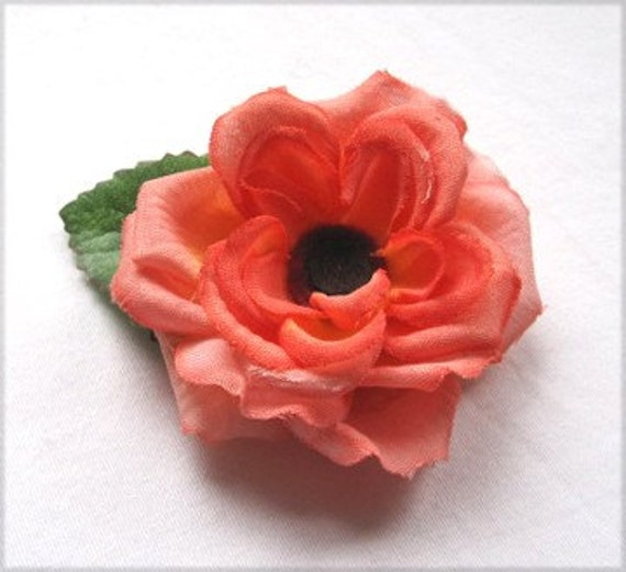 Flower Hair Clip - Small Coral Peach Pink Sherbet Rose Hair Flower, Gift Idea, Eco-Gift, Upcycled, Wholesale Hair Flowers