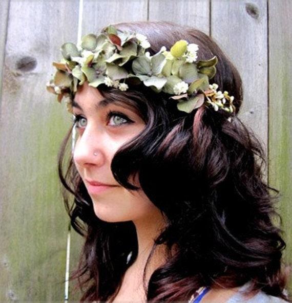 Floral Head Wreath - Autumn Emerald Forest Soft Green Hair Crown, Wreath