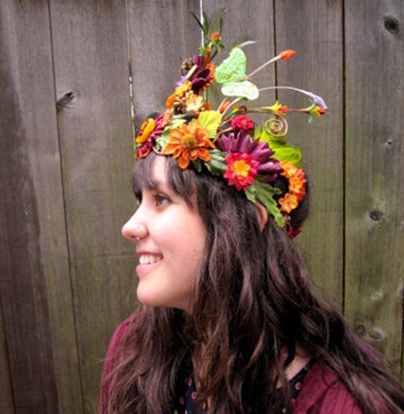 Reserved for Bernice - Flower Crown - Ecstatic Fairy Flower Crown, Woodland Fairy, Bohemian Princess,  Flower Headdress