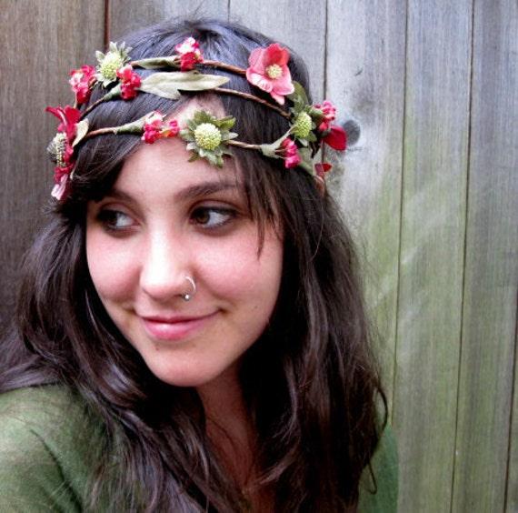 Wildflower Headband  - Scarlet Red Bohemian Wildflower Crown, Summer fashion, Vintage Floral, Woodland