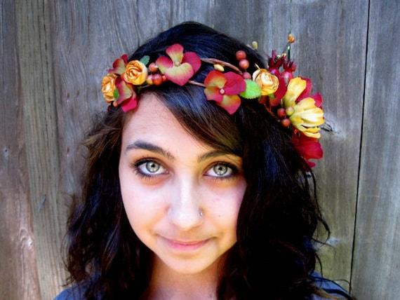 Flower Hair Wreath - Golden Mustard and Red Cinnabar Flower Hair Crown, Bright Colors, Fairy Crown