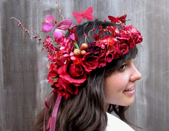 Fairy Crown - Red Rose Butterfly Flower Headress, Midsummer Night's Dream Floral Crown