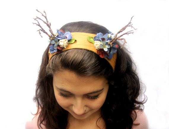 Deer Antlers - Headband Rustic Blue and Cinnamon Flower, Woodland Antler Headdress. Antlers. Celtic Princess Fairy Festival