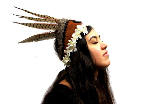 Tribal Feather Headdress - Flower Crown, Leather, Bead and Feather Goddess Festival Headpiece