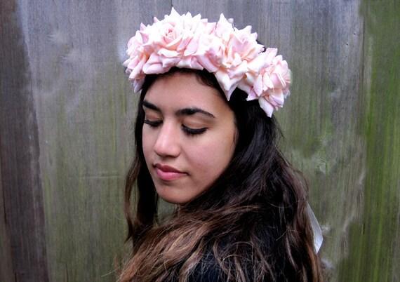 Pink Rose Crown - Vintage Velveteen Rose Hair Wreath. Cottage Bridal, Fairy Crown, Fae