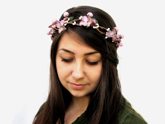 Flower Girl Crown - Mauve Pink Flower and White Berry Head Wreath. Fairy Flower Crown, Faerie, Fae