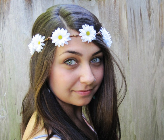 Daisy Chain Flower Crown, Daisy Headband, EDC, White Daisy Hair Wreath, Hippie Headband, Daisy Crown, Gift Under 30, Rave Wear