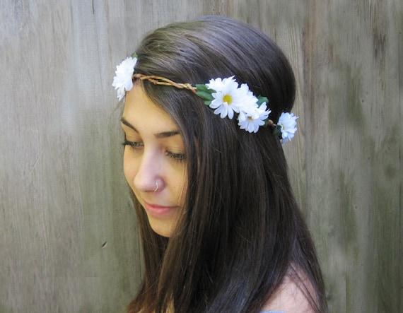 Daisy Headband, EDC, Daisy Crown, Daisies, Daisy Flower Crown, Hair Wreath, Daisy Floral Crown, Hippie Headband, Daisy Chain, Bohemian, Boho