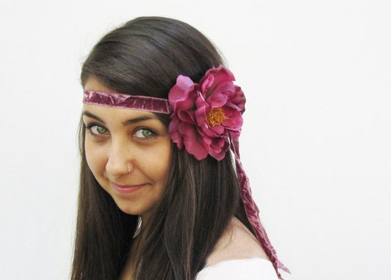 Deep Pink Flower Headband - Silk Velvet Ribbon and Peony Bohemian Headband, Fall fashion, Flapper Costume