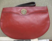 Aigner Purse Etienne Aigner Clutch Bag Purse Ox Blood Red Zippered Pouch Bag