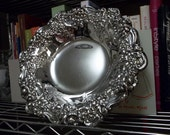 Silver Bowl Silverplated Ornate Border Grapes Flowers