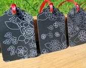 Black and White Modern Flower Gift Tag Set