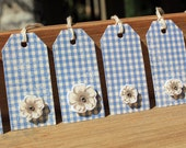 Gingham Blue and White with Flower Embellishment Gift Tag Set