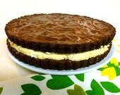 Gluten Free, Fudgy Deep Dark Choc, PeanutButter fluff filling Brownie-CookieCake