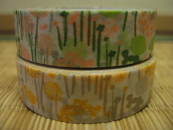 Japanese Masking Tape - pink salmon green yellow gold leaf leaves dandelion clover flowers floral pattern