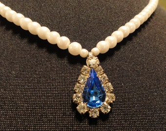 Vintage Faux Pearl and Blue Rhinestone Necklace