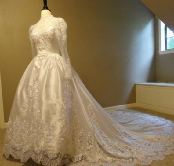 RESERVED for Rita White Satin and Pearl Embellished Lace with Tulle Bodice Vintage Wedding Dress by Michaelangelo