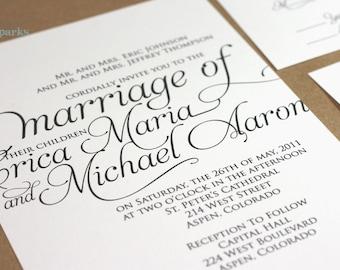 Ornate Script Wedding Invitation Package (Printable) DIY
