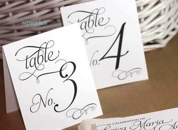 Reception table numbers printable tent style for Table numbers for wedding reception templates
