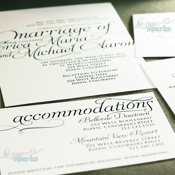 Ornate Script Wedding Accommodations Card (Printable) DIY