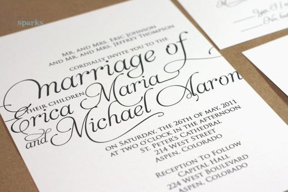 Ornate Script Wedding Invitation Package (Printable) DIY