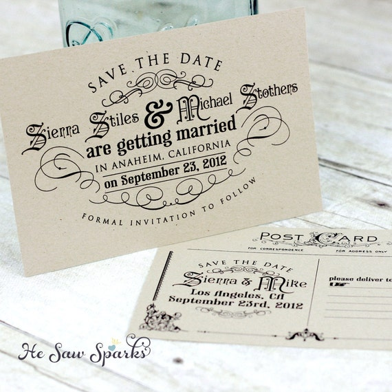 Vintage Postcard Save The Date DIY Printable the