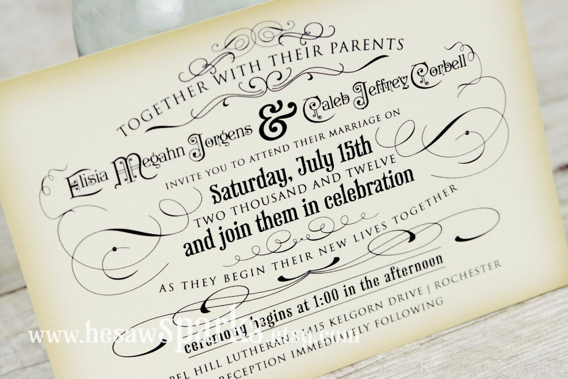 Free Samples Wedding Invitations: Vintage Wedding Invitation Printable DIY The Timeless
