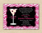 Cocktail Zebra Print Bachelorette Party Invitation - DIY Printable Invitations